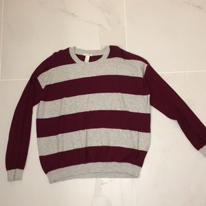 Forever 21 Striped Red and Grey Sweater